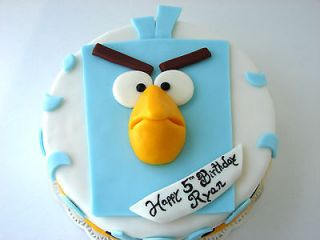 BLUE ANGRY BIRD SPACE TOPPER FONDANT  10  GREAT ON TOP OF YOUR CAKE