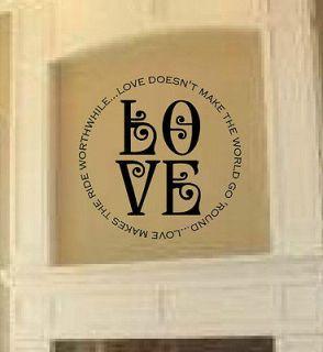 LOVE CIRCLE FRAME Valentines Day Vinyl Wall Decal Sticker Word Art