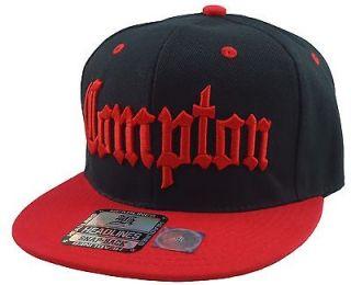 COMPTON 3D EMBROIDERED FLAT BILL SNAPBACK BASEBALL CAP HAT BLACK/RED