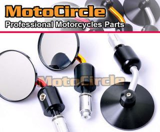 Universal Moto Bar End Mirrors Fit Street Bike TOP RACE ROUND BLACK