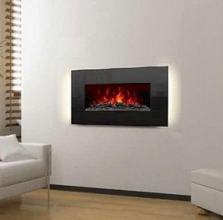 Electric Fireplace Wall Mount 36 Crystal Black Glass Ventless