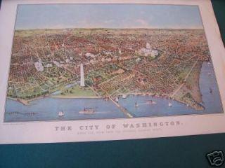 Currier & Ives Print   City Of Washington   Birds Eye View BOG2