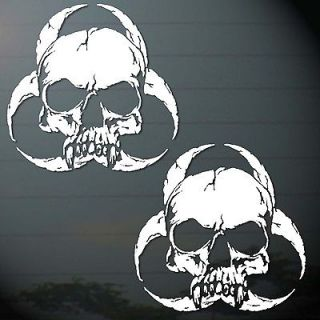 SKULL BIO HAZARD STICKER CUT OUT MIRROR WALL COMPUTER CAR MOTOR BIKES