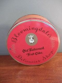 VINTAGE RED  OLD FASHIONED FRUIT CAKE LARGE 8 TIN CAN