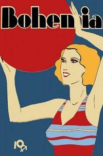 Quality Design posterDeco girl playing w/Beach Ball.Retro.Wal l Decor
