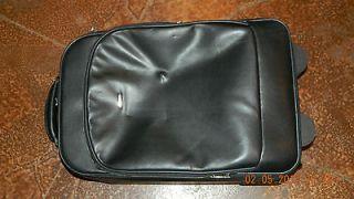 Black Leather CARPISA Unisex Rolling Suitcase Luggage Bag fromITALY