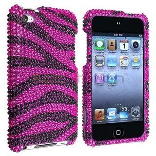 iPod Touch 4th Gen 4G Hot Pink Black Zebra Rhinestone Bling Case Cover