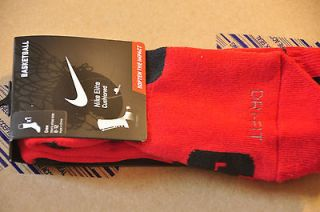 Authentic Mens Nike Elite Socks   University Red/Black   MEDIUM