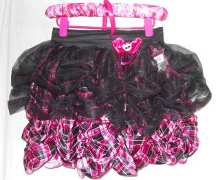 New Monster High Petti Skirt Draculaura Pink Black Plaid Dress Up H