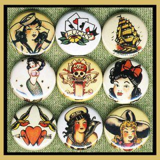 tattoo art Sailor Jerry pin up girls bird ship 1 buttons OR magnets B
