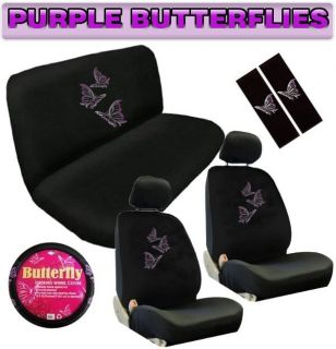 Butterfly 11pc UNIVERSAL Car Seat Covers Bench Floor Mats Interior Set