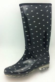 Ferrera Womens NEW Black & White Polka Dot Dots Rain Boots Rainboots