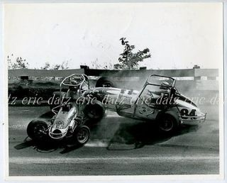 ~Sprint Car crash, dirt track racing, 8x10, #12 Fairchild/#84 Bigelow