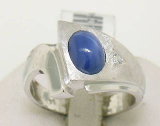 14k White Gold Blue Star Sapphire Diamond Mens Ring