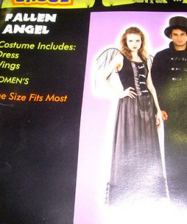 Fallen Angel Woman Adult Costume Dress Wings OSFM NWT