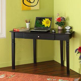 48 in. Black Solid Wood Corner Home Office Desk Drawer
