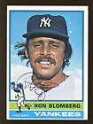 1976 Topps #354 Ron Blomberg New York Yankees Signed AUTO Trading Card