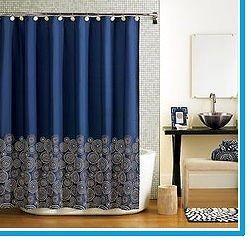 Navy blue fabric Shower Curtain Hometrends