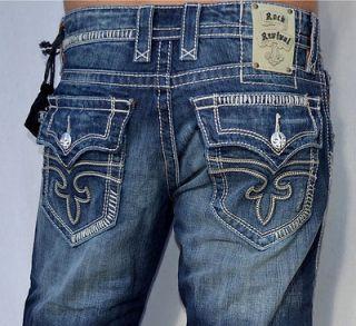 rock revival men s denim steven 12 jeans straight leg new medium blue