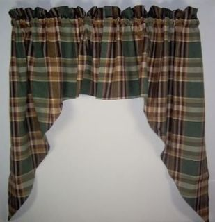 Country Green Brown Tan Plaid Wood River Unlined Swags 72x36