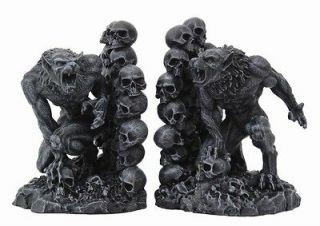 Skull Cave Dweller Werewolf Bookends Statue Desktop 6.5 Figurine Faux