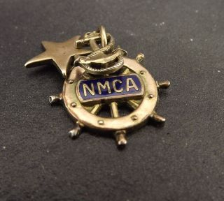 Vintage NMCA Boat Steering Wheel Anchor Star Sterling Silver Charm