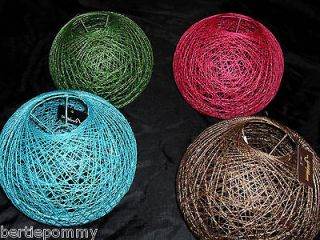 RATTAN BALL CEILING LIGHT LAMP SHADE   PINK/GREEN/TEA L/BROWN   NEW