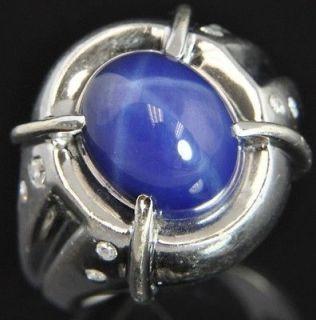 Linde 14K White Gold Star Sapphire & Diamond Mens Ring Heavy 9.25