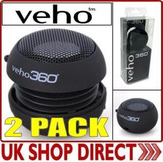 VEHO 360 BASS PORTABLE TRAVEL SPEAKER IPAD/IPOD/IPHO NE/LAPTOP/PC x 2