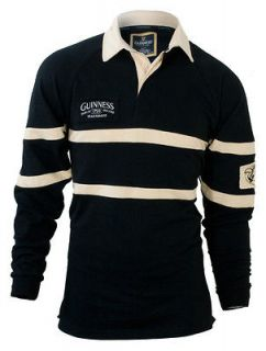 Guinness Black and Cream long sleeve authentic rugby shirt   Brand New