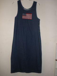 WOMENS SMART OBJECTS BRAND AMERICAN FLAG JEAN JUMPER DRESS (T130