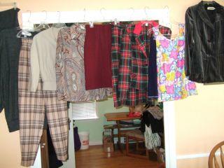 lot vintage clothes top skirts pants jacket 60s 70s 80s madmen retro S