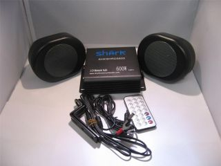 motorcycle audio system w/ 4 black oval speakers usb aux sd