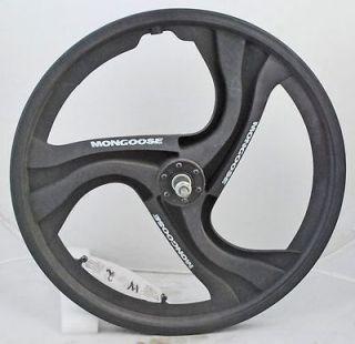 Used Mongoose BMX 3 Spoke Mag Front Wheel 20 Black White Radical