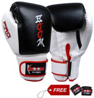 BOOM Pro Leather Boxing Gloves,MMA,Pun ch Bag,Muay Thai,Sparring, Kick