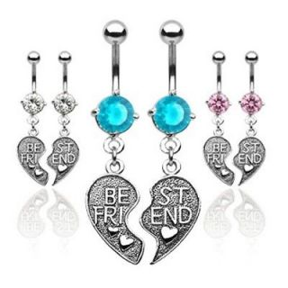 PAIR BEST FRIEND HEART CZ BELLY NAVEL RING CHARM BFF SET BUTTON