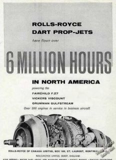 1960 Rolls Royce Dart Prop Jets Engine photo Ad