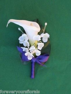 NEW White Calla Lily Mens Boutonnieres, Regency Calla Boutonniere