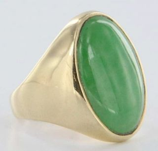 Jade 14k Gold Mens Cocktail Ring Band Fine Heirloom Used Jewelry