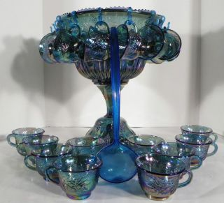 Indiana Carnival Glass Blue Harvest Grape Punch Bowl Wedding Set w/ 24