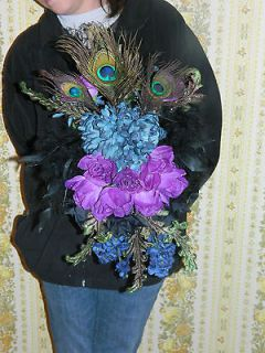 peacock feather wedding bouquets