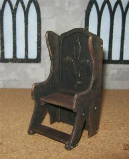 dolls house mahogany fleur de lys THRONE CARVER CHAIR tudor gothic