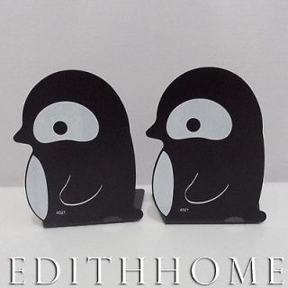 Sea Animals Penguin Metal Bookends / Book Stand for Kid 2pc   Black