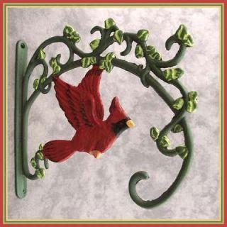 RED CARDINAL BIRD Cast Iron WALL BRACKET PLANT HANGER ~SCROLLING