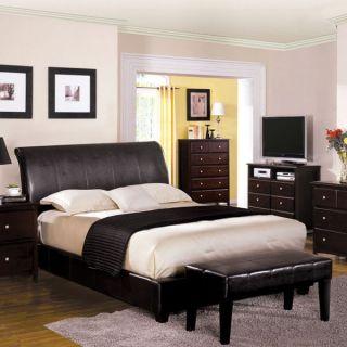 Rodeo Espresso Finish Leatherette Platform Bed Set