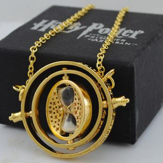 NEW 18K YELLOW GP Harry Potter TIME TURNER NECKLACE Hermione Granger