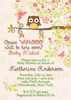 Owl Baby Shower Bridal Shower Invitations