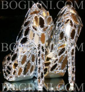 CO WHITE GLASS MIRROR HIGH STILETTO BRIDAL WEDDING PROM CRYSTAL SHOES