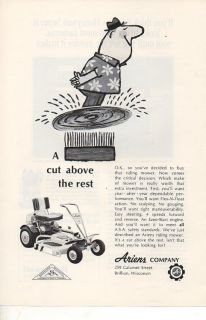 Brillion WI Ariens Co Riding Lawn Mower Vintage Print Ad 1967