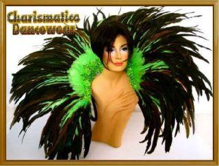 GREEN BRAZIL Feather SAMBA CARNIVAL BACK PACK COLLAR